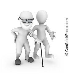 vecchie persone, persona, aiuta, piccolo, 3d, uomo