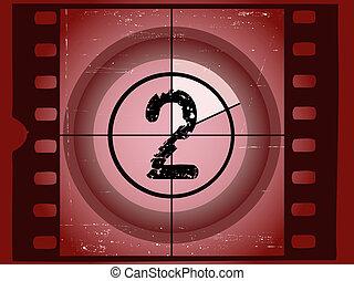 vecchio, 2, film, -, graffiato, rosso, conto alla rovescia
