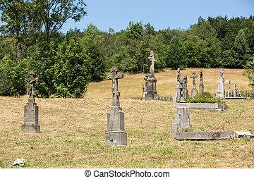 vecchio, abbandonato, pietroso, ortodosso, croci