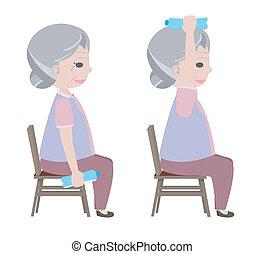 vecchio, acqua, esercizio, bere, signora, sollevamento