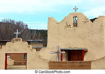 vecchio, adobe, chiesa