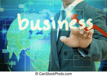 vecchio, affari, bottone, contatto, carta, uomo affari