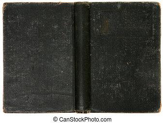 vecchio, afflitto, vendemmia, libro, sfondo nero