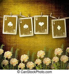 vecchio, alienato, cartelle, su, parete, in, il, stanza, con, fiori