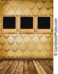 vecchio, alienato, diapositive, su, parete, in, il, stanza