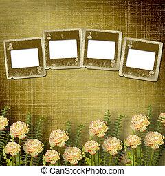 vecchio, alienato, diapositive, su, parete, in, il, stanza, con, fiori
