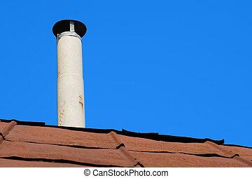 vecchio, amianto, sopra, metallo, tetto, tubo, arrugginito, camino