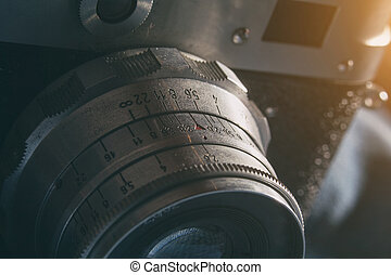 vecchio, analogico, lente, macchina fotografica