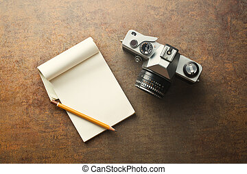 vecchio, analogue, macchina fotografica, blocco note
