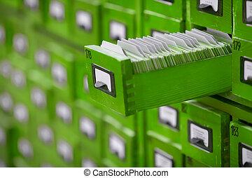 vecchio, aperto, legno, uno, cassetto, catalogo, scheda