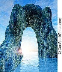 vecchio, arco pietra, in, mare