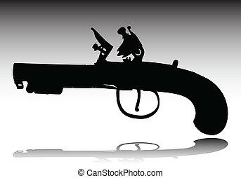vecchio, armi, vettore, silhouette