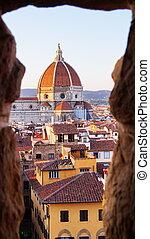 vecchio, arnolfo, palazzo, torre, florença, vista