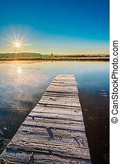 vecchio, assi, legno, acqua, lago, calma, fiume, banchina