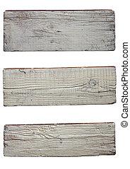 vecchio, assi, legno, isolato, fondo, bianco