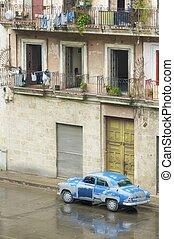 vecchio, automobile blu