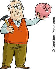 vecchio, banca piggy, uomo