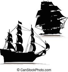 vecchio, barca, vettore, silhouette