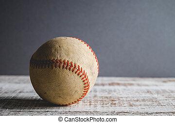 vecchio, baseball, e, guanto, su, legno, fondo, con, filtro, effetto, retro, vendemmia, stile