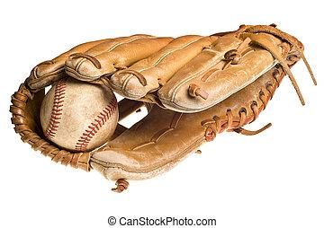 vecchio, baseball, in, cuoio, manopola, o, guanto