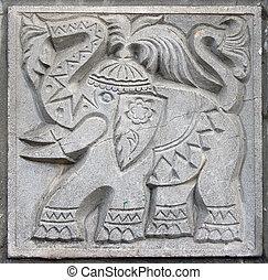 vecchio, bassorilievo, di, fairytale, elefante