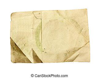 vecchio, bianco, carta, foglio, isolato