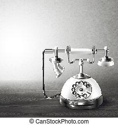 vecchio, bianco, telefono nero