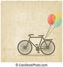 vecchio, bicicletta, palloni, fondo