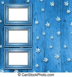 vecchio, blu, cornici, stile vittoriano, su, parete, in, il, stanza