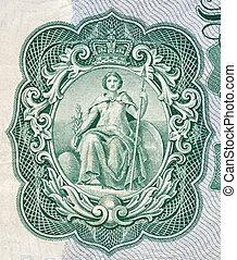 vecchio, britannia, nota, depicted, inglese, banca