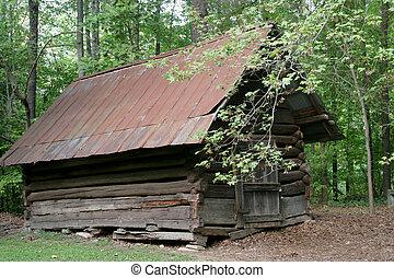 vecchio, cabina, in, il, legnhe