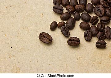 vecchio, caffè, carta, fagioli