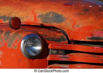 vecchio, camion rosso