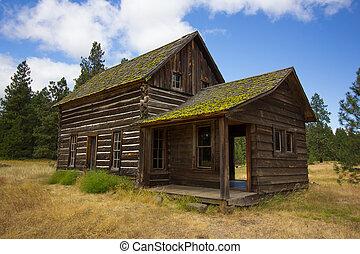 vecchio, capanna di tronchi
