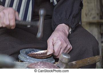 vecchio, carpentiere, lavoro