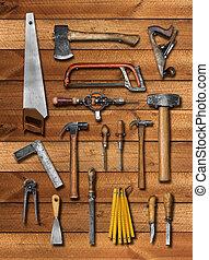vecchio, carpentiere, strumenti manuali, su, legno