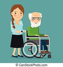 vecchio, carrozzella, spinta, uomo disabled, volontario