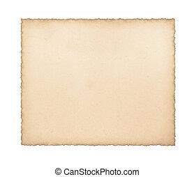 vecchio, carta, con, bruciato, bordi, su, uno, bianco, .