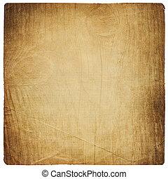 vecchio, carta, foglio, con, vendemmia, legno, texture., isolato, su, white.