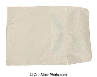 vecchio, carta, foglio, isolato, bianco