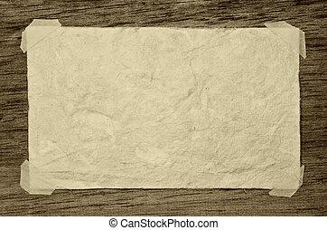vecchio, carta, su, il, legno, fondo