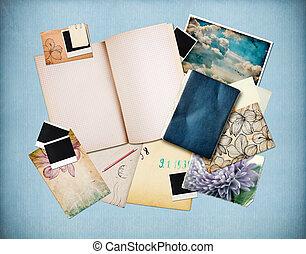 vecchio, carta, vendemmia, foto, fondo, cartelle, istante