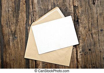 vecchio, cartolina, busta, legno, fondo, vuoto