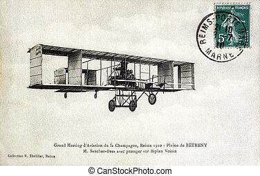 vecchio, cartolina, reims, 1910, pianura, betheny,...