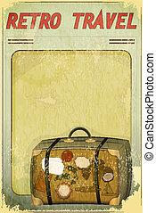 vecchio, cartolina, viaggiare, -, retro, valigia