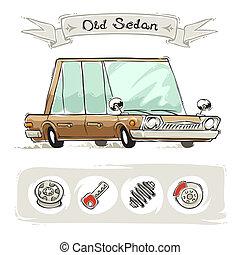 vecchio, cartone animato, bussola, set