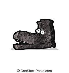 vecchio, cartone animato, scarpa