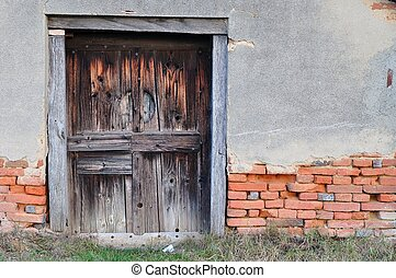 vecchio, casa, con, porta legno