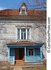 vecchio, casa, con, veranda