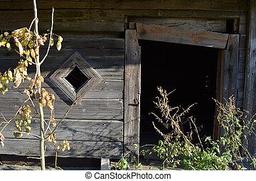 vecchio, casa legno, frammento, abandonet, rurale, derelitto